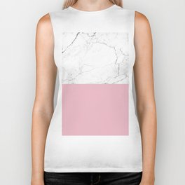 blush pink and white marble color block Biker Tank