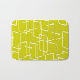 Lime Green Retro Geometric Pattern Bath Mat