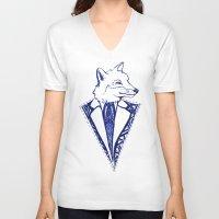 mr fox V-neck T-shirts featuring MR. FOX by Sagara Hirsch