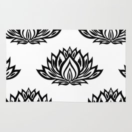 Black and White Lotus Pattern Rug