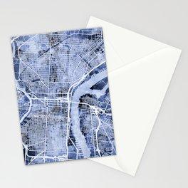Philadelphia Pennsylvania City Street Map Stationery Cards