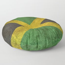 Old and Worn Distressed Vintage Flag of Jamaica Floor Pillow