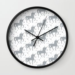 Grey Unicorn and Stars Pattern Wall Clock