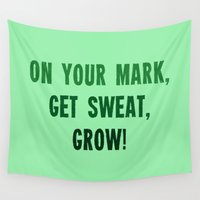 workout Wall Tapestries featuring Workout Collection: On Your Mark Grow by Kat Mun