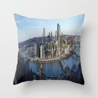 pittsburgh Throw Pillows featuring PITTSBURGH CITY by Stephanie Bosworth