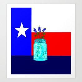 A Texas Flag and Blue Bonnets in a Jar Art Print