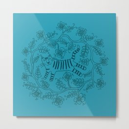 Teal Flowery Tiger Metal Print
