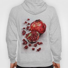 Red pomegranate watercolor art painting Hoody
