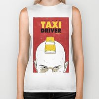 taxi driver Biker Tanks featuring Taxi Driver by Matthew Bartlett