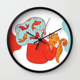 Girl with fish hair Wall Clock