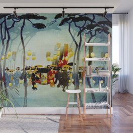 Japanese Covered Litter and Lanterns Wall Mural