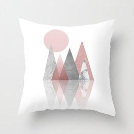 Raspberry Frost Mountains Throw Pillow