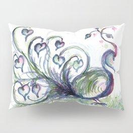 Peacock Pink Hearts watercolour by CheyAnne Sexton Pillow Sham