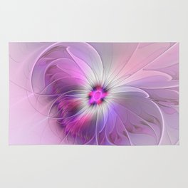 Abstract Flower With Pink And Purple Fractal Rug