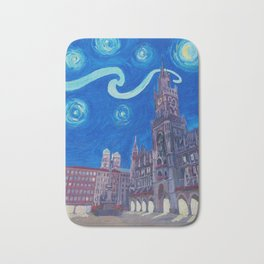 Starry Night In Munich - Van Gogh Inspirations with Church of Our Lady and City Hall Bath Mat