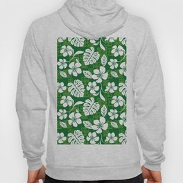 Green and White Aloha Hawaiian Flower Blooms and Tropical Leaves Pattern Hoody