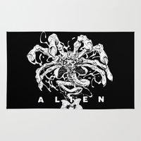 lv Area & Throw Rugs featuring ALIEN: FACEHUGGER by BeastWreck