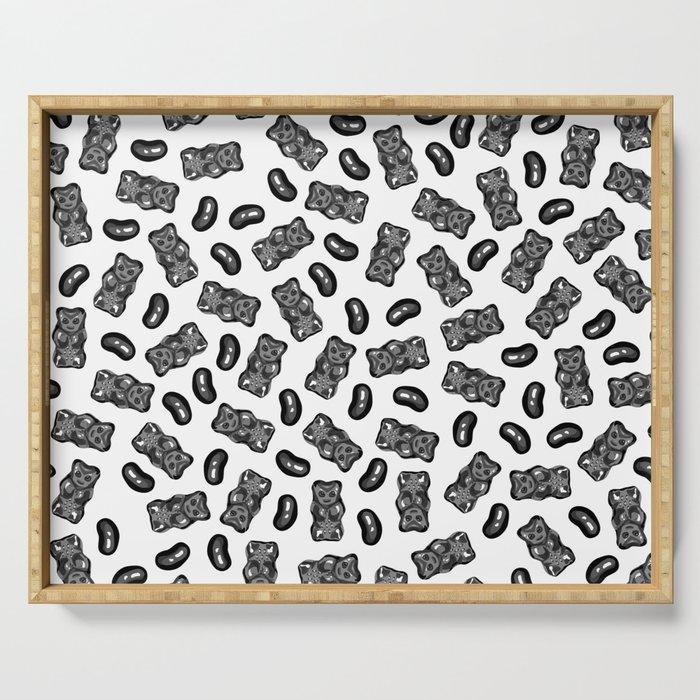 Jelly Beans & Gummy Bears Pattern - black on white Serving Tray
