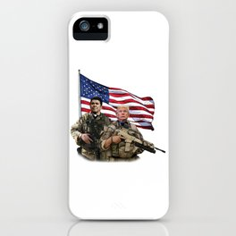Presidential Soldiers: Ronald Reagan & Donald Trump USA Flag iPhone Case