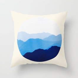 Colorful Blue Mountains Ombre Silhouette Throw Pillow