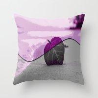 leaf Throw Pillows featuring Leaf by Aloke Design