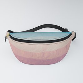 Geometrical navy blue pink watercolor ombre stripes Fanny Pack