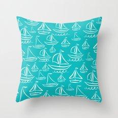 Sail Away Turquoise  Throw Pillow