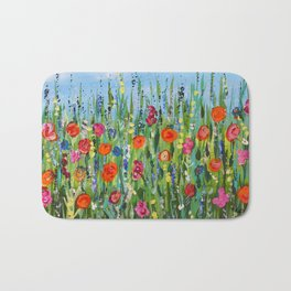Wildflower Meadow2, Abstract Floral Art, Flower Field Bath Mat
