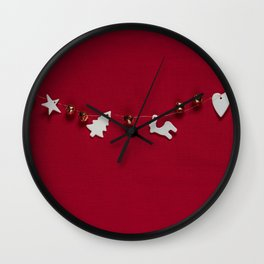 Christmas Decorations on Red (Color) Wall Clock
