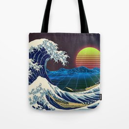 Synthwave Space #9: The Great Wave off Kanagawa Tote Bag