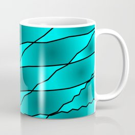 Slanting iridescent lines and rhombuses on light blue with intersection of glare. Coffee Mug