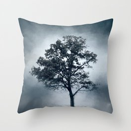 Ice Cool Cotton Field Tree - Landscape Throw Pillow