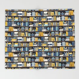 Book Case Pattern - Blue Yellow Throw Blanket