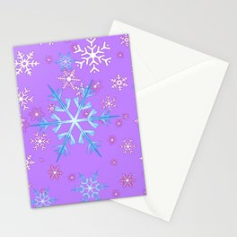 LILAC PURPLE WINTER SNOWFLAKES Stationery Cards