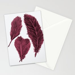 Feather Collection - bordeux Stationery Cards