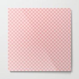 Lush Blush Pink Checkerboard Squares Metal Print