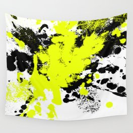 Surprise! Black and yellow abstract paint splat artwork Wall Tapestry