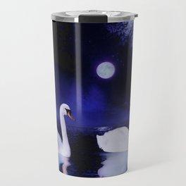 Swan lake at midnight Travel Mug