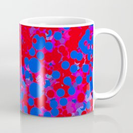 blue on red, circles Coffee Mug