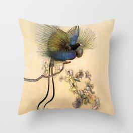 """""""The Beautiful Bird of Paradise"""" Art by Warwick Goble Throw Pillow"""