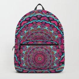 Pink and blue hearts mandala Backpack