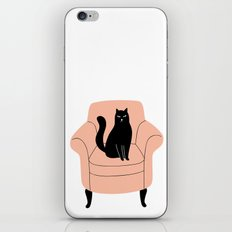 black cat on a chair iPhone Skin