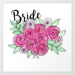 Bride Wedding Pink Roses Watercolor Art Print
