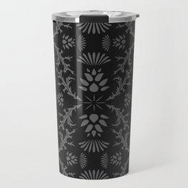 Thistles on Black Travel Mug
