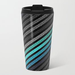 stripeS : Slate Gray Teal Blue Travel Mug
