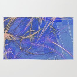 Blue Pink Abstract Rug