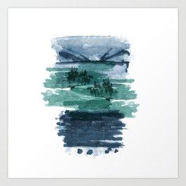 Blue and green landscape Art Print
