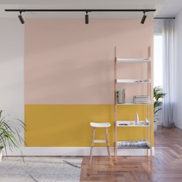 Mustard Yellow Orange and Blush Pink Minimalist Color Block Wall Mural