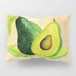 Green Avocado in Watercolor Pillow Sham