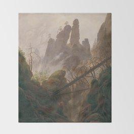 Caspar David Friedrich - Rocky Lanscape in the Elbe Sandstone Mountains Throw Blanket